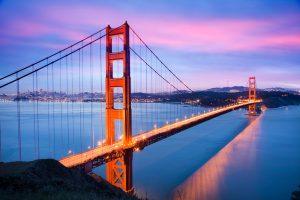 BHDEJA Golden gate Bridge and San Francisco Skyline viewed at dusk